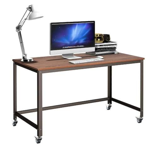 Costway Rolling Computer Desk Metal Frame PC Laptop Table Wood Top
