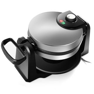Gymax Flip Belgian Round Waffle Maker Non Stick Stainless Steel - as pic