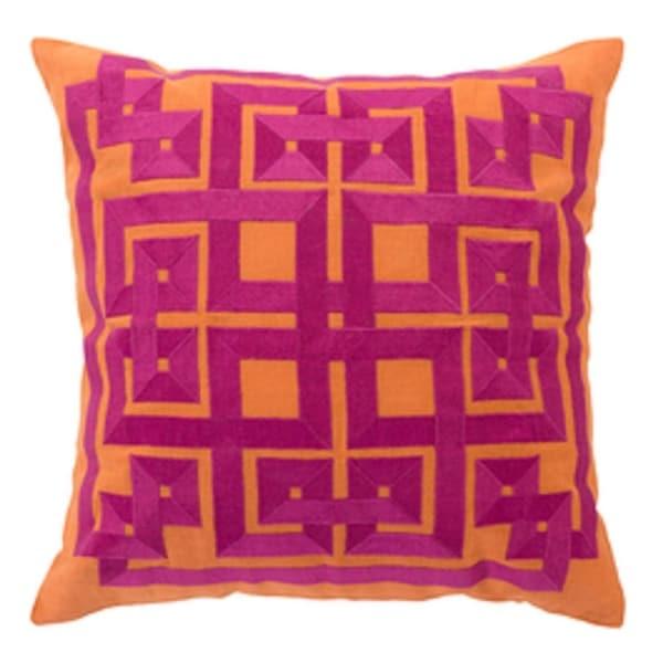 """22"""" Burnt Orange and Magenta Decorative Square Throw Pillow"""