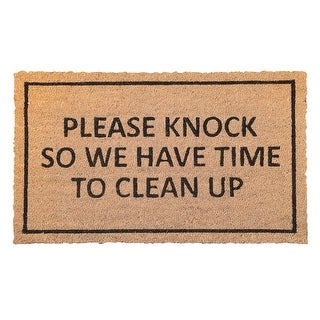 Please Knock So We Have Time to Clean Up Doormat - PVC Backed Coir Welcome Mat - 30 in. x 18 in.