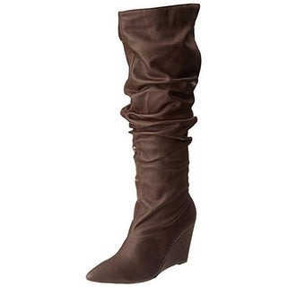 Michael Antonio Womens Ebel Wedge Boots Faux Leather Slouchy