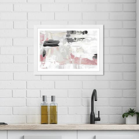 Wynwood Studio 'Blush Rose Dream' Abstract White Wall Art Framed Print