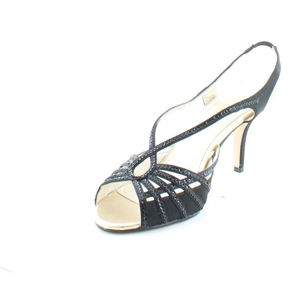 Caparros Womens Kaycee 2 Open Toe Back Strap D-orsay, Black Satin, Size 6.5