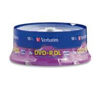 Verbatim DVD+R DL, 95484, 8.5GB, 8X, Branded, 15PK Spindle, TAA