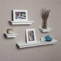 DanyaB  Set Of 4 Cornice Ledge Shelves With 2 Photo Frames - White