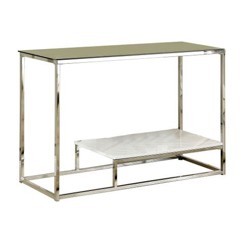 Vendi White with Glass Sofa Table