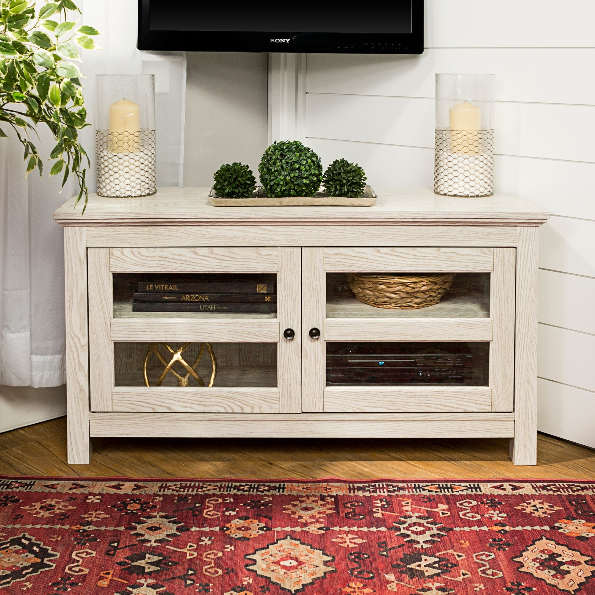 Bow Valley 44 Inch White Wash Corner Tv Stand Console On Sale Overstock 12540962