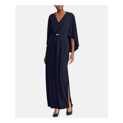 RALPH LAUREN Womens Navy Bell Sleeve Maxi Sheath Formal Dress Size 6