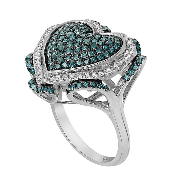 Fabulous Valentine Ring With 0.97 Carat Round Brilliant Cut Blue Diamond & Diamond, 925 Sterling Silver
