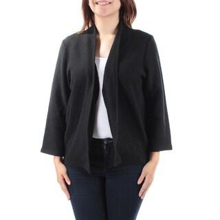 ANNE KLEIN $119 Womens New 1170 Black Open Cardigan Long Sleeve Vest Top S B+B