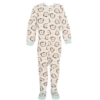 Vitamins Kids Little Girls Ivory Brown Monkey Face Footed Pajama Jumper 2-4T
