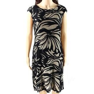 Connected Apparel NEW Black Beige Women's Size 12 Floral Sheath Dress