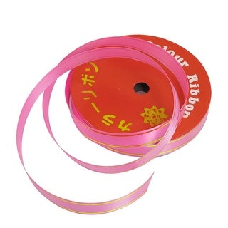 Unique Bargains Unique Bargains Hand Gift Wrapping Tape Pink Poly Ribbon Roll Decor