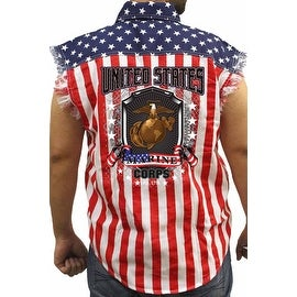 Men's Biker USA Flag Sleeveless Denim Shirt US Marine Corps Stars & Stripes Vet