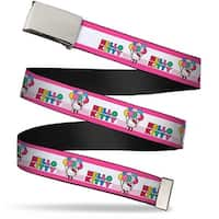 Blank Chrome Bo Buckle Hello Kitty W Spotted Balloons Pink Stripes Web Belt