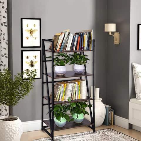 4-Tier Ladder Shelf Ladder Bookcase Bookshelf Display Rack Plant