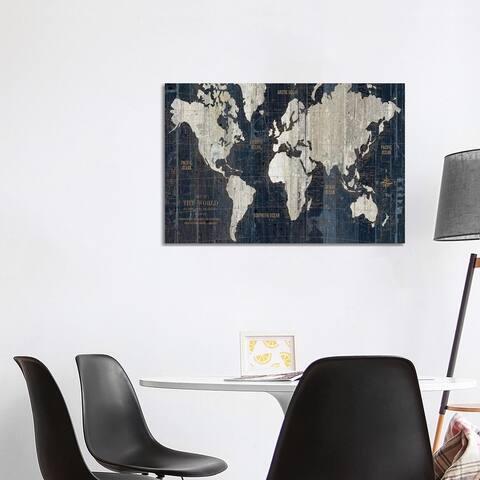 "iCanvas ""Old World Map Blue"" by Wild Apple Portfolio Canvas Print"
