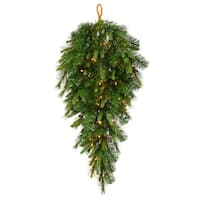 "36"" Pre-Lit Battery Operated Mixed Pine Cashmere Teardrop Swag - Clear LED"