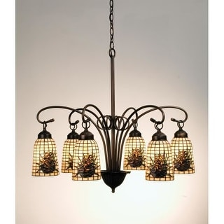 Meyda Tiffany 18669 Stained Glass / Tiffany 6 Light Down Lighting Chandelier from the Pinecones Collection