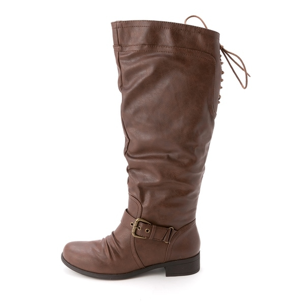 XOXO Womens MARCHER WC Leather Round Toe Riding Boots