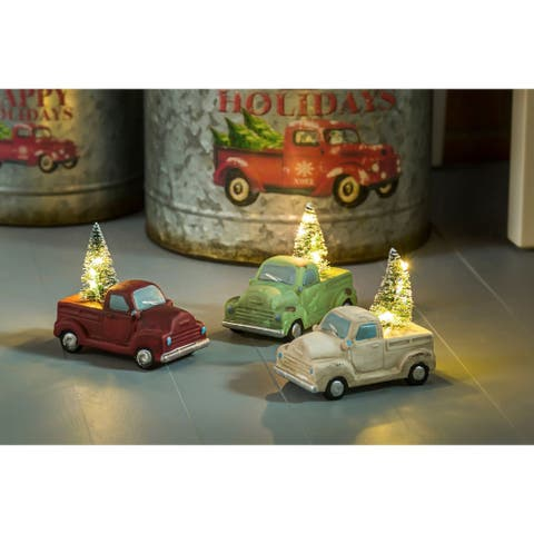 "5""H Holiday Truck with Tree Light Up Ceramic Statuary, White"
