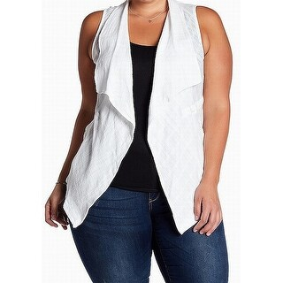 Democracy White Womens Size 2X Plus Cotton Fly Away Vest Jacket