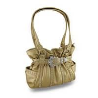 Sparkling Stripes Metallic Cinch Style Bag w/Rhinestone Buckle Belt Accent - Gold