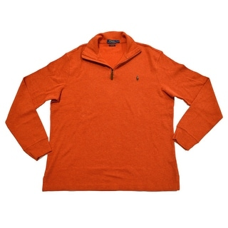 Polo Ralph Lauren NEW Orange Mens Size Large L 1/2 Zip Ribbed Sweater