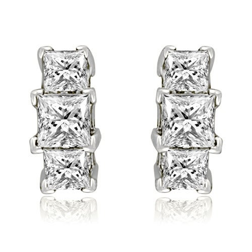 fbaf93c77 14K White Gold Three-Stone Princess Cut Diamond Earrings HI, SI1-2 - Free  Shipping Today - Overstock - 12815132