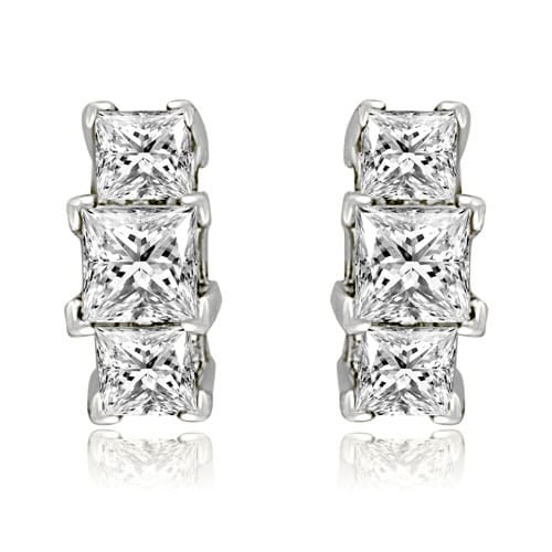 a15de0d977f Classic 0.90 cttw. 14K White Gold Three-Stone Princess Cut Diamond Earrings  HI, SI1-2