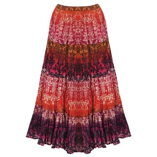 Catalog Classics Women's Peasant Skirt - Tiered Broomstick Maxi in Rusty Reds