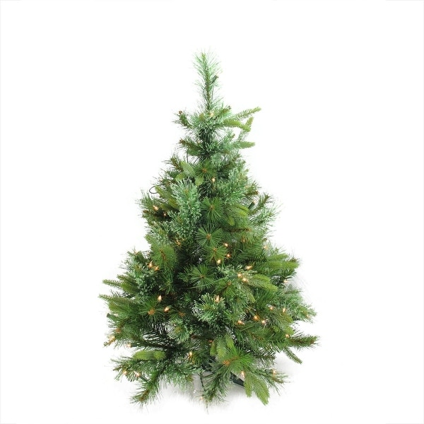 "3' x 29"" Pre-Lit Cashmere Mixed Pine Full Artificial Christmas Tree - Clear Dura Lights - green"