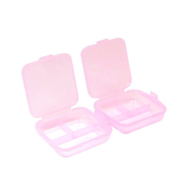 Pink Hard Plastic Rectangle Shape Mini Medicine Drug Pill Srorage Case