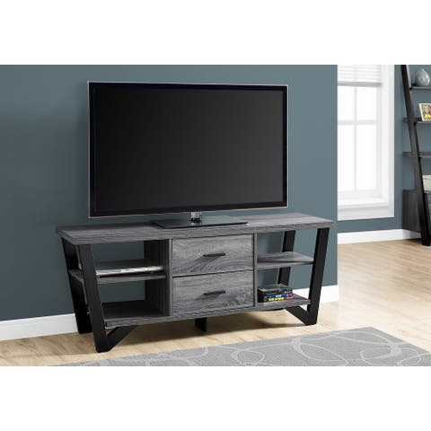 Monarch 2762 Grey-Black 60nch Tv Stand With 2 Storage Drawers