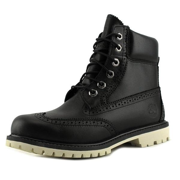 Timberland 6 Inch Premium Brogue Women Round Toe Leather Black Boot