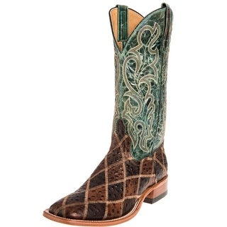 Horse Power Western Boots Mens Leather Cowboy Patchwork Brown