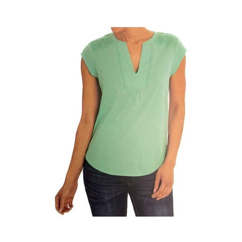 Orvis Ladies' Anna Crochet Inserts Lace Relaxed Fit V-Neck Top