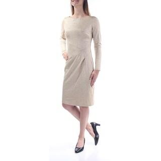 Womens Gold Long Sleeve Knee Length Sheath Party Dress Size: 4