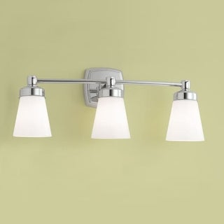 "Norwell Lighting 8933 Soft Square 9"" Tall 3 Light Bathroom Vanity Light with White Glass Shades"