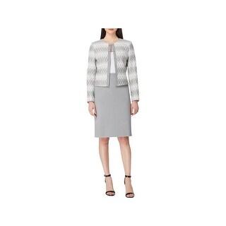 Tahari ASL Womens Skirt Suit Jacquard Printed - 4