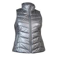 INC International Concepts Women's Beaded Quilted Puffer Vest - Silver Dusk