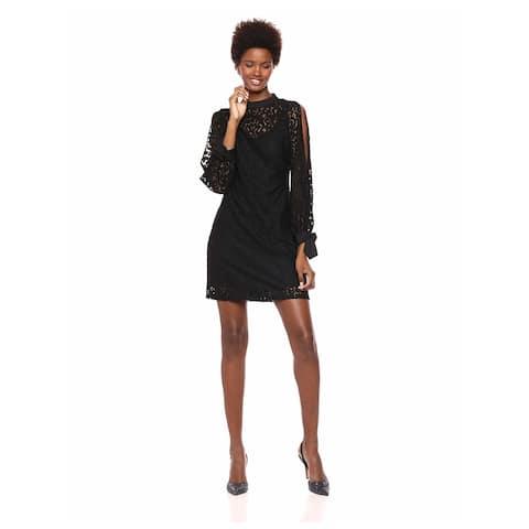 KENSIE Black Long Sleeve Above The Knee Shift Dress Size 8