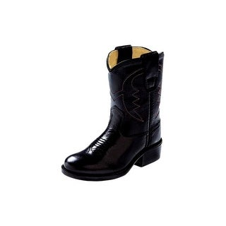 Old West Cowboy Boots Boys Girls Kids Corona Leather PVC Black 3110
