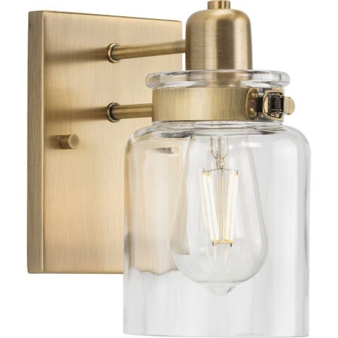 Calhoun Collection One-Light Vintage Brass Clear Glass Farmhouse Bath Vanity Light - 5 in x 6.875 in x 8.625 in