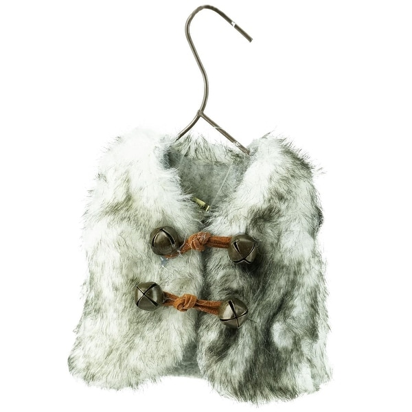 "5.5"" Gray and White Faux Fur Vest Christmas Ornament with Jingle Bells"