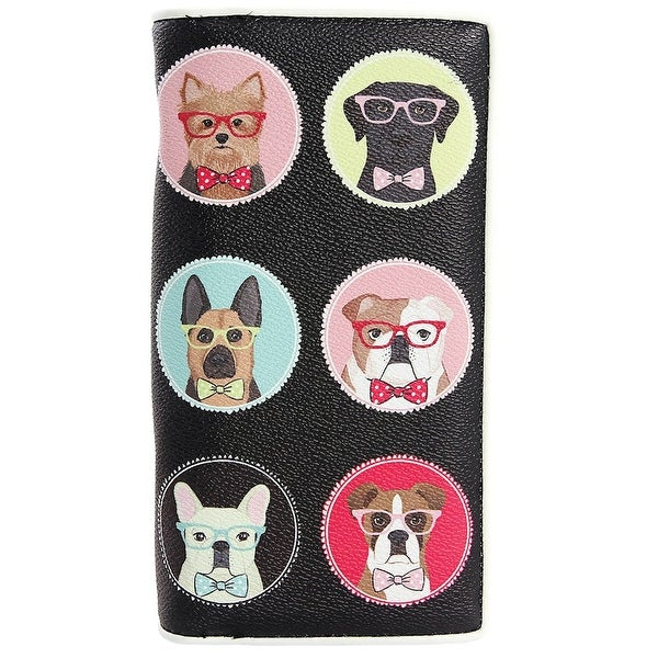 "Women's Dapper Dogs Clutch Wallets - Faux Leather - 7"" x 4"" - Medium"