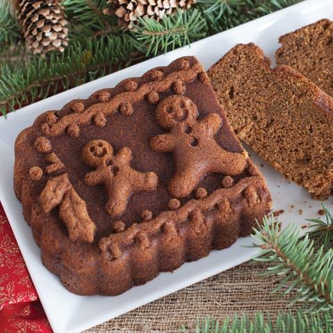 Nordic Ware Gingerbread Family Loaf Pan, Metallic