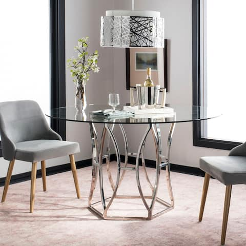 """Safavieh Couture Shaw 54-inch Glass Top Round Dining Table - 54"""" W x 54"""" D x 30.5"""" H"""