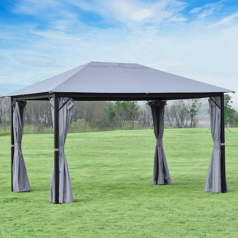 Outsunny 13' x 10' Outdoor Patio Gazebo Canopy with PA Coated Polyester Roof, Steel/Aluminum Frame, & Sidewalls, Grey