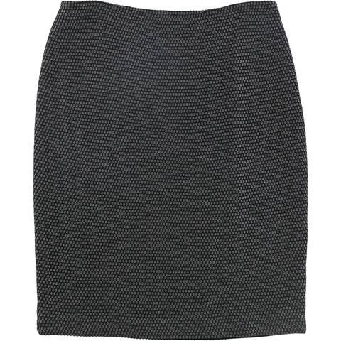 St. John Womens Wool-Blend Pencil Skirt, Grey, 6